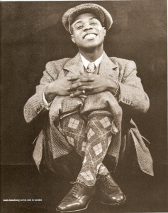 Louis Armstrong, in a pimp outfit