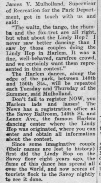 1935 quote regarding addition of Lindy Hop