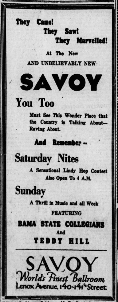 1936 Savoy add saturday contests The_New_York_Age_Sat__Sep_19__1936_