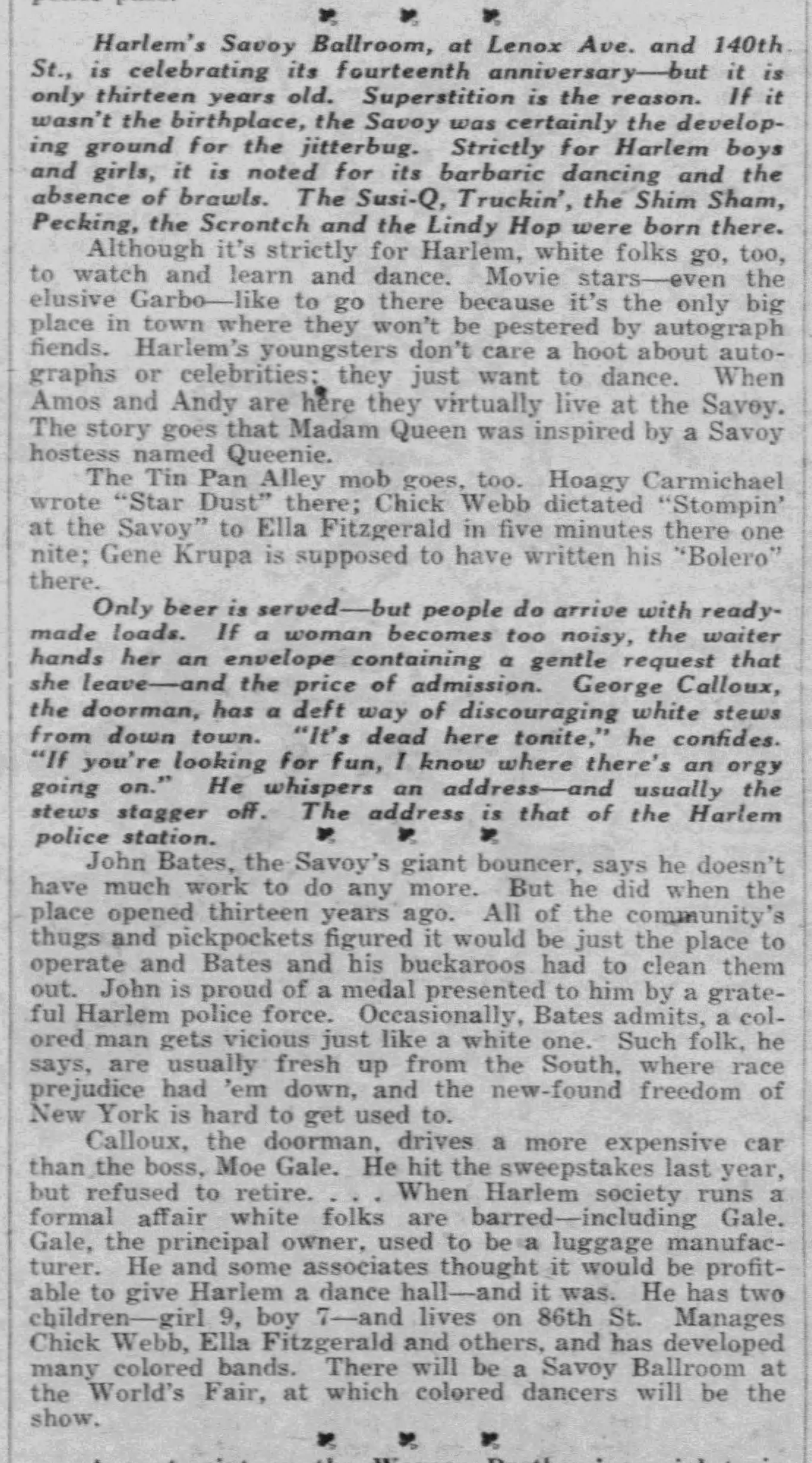 Article on the Savoy Daily_News_Mon__Apr_17__1939_